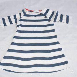 Next White & navy stripy dress 3-6 months