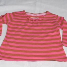 Next pink & brown stripy top 3-6 months