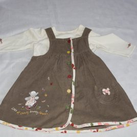 Mothercare Humphreys Corner brown cord pinafore & top outfit 3-6 months
