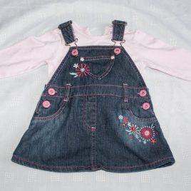 Denim pinafore & pink bodysuit 3-6 months