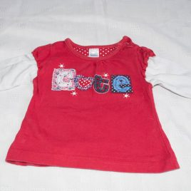 Red 'cute' top 3-6 months