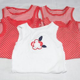 x5 red & white bodysuits