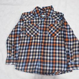 Checked navy, orange, brown & white shirt 2-3 years