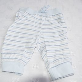 Blue & grey stripy trousers 0-3 months