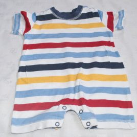 Blue, white, yellow & red stripy romper 0-3 months