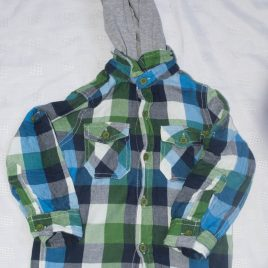 Checked blue, green & white hooded shirt 3 years