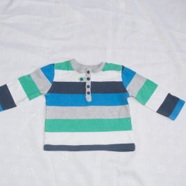Green, blue, navy & white stripy  top 6-9 months