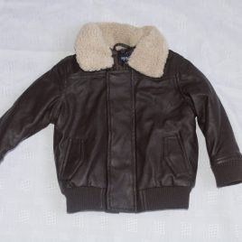 Brown leather look jacket 6-12 months