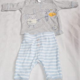 Next blue & grey top & trousers outfit 0-3 months