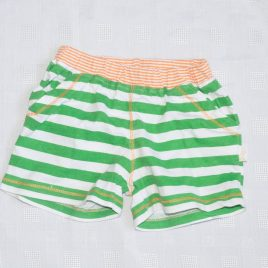 Green & white striped shorts 9 months