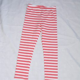 Coral & white striped leggings 3-4 years