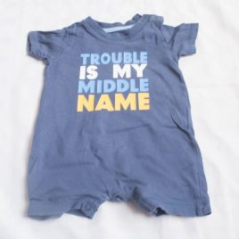 Blue 'Trouble is my middle name ' romper 0-3 months