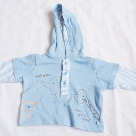 Blue hooded top 0-3 months