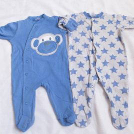 Next blue monkey & stars sleepsuits 0-3 months