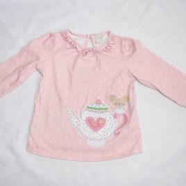 Pink spotty mouse & teapot top 12-18 months