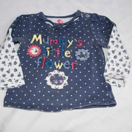Navy 'mummy's little flower' top 12-18 months