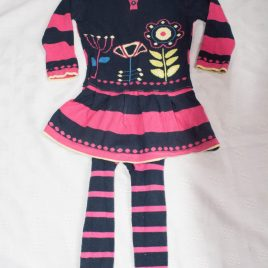 M&S knitted pink & navy dress & tights 12-18 months
