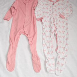 x2 Flamingos & pink sleepsuits 12-18 months
