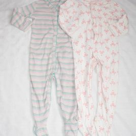 x2 Flamingos & stripy sleepsuits 12-18 months