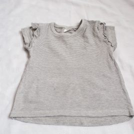 Next grey & black stripy t-shirt 12-18 months
