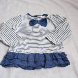 Navy & white stripy top 12-18 months