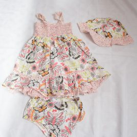 Flowers & butterflies dress, hat & pants outfit 12-18 months