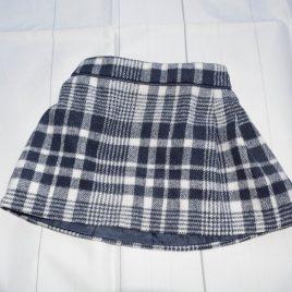 Navy& white tartan skirt 12-18 months