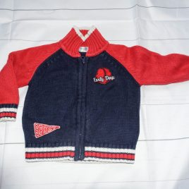 Red & navy cardigan 12-18 months