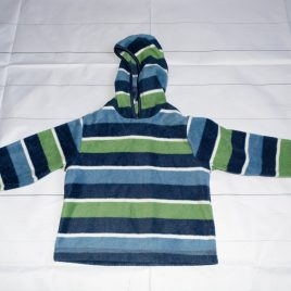 Green & navy fleece stripy jumper 18-24