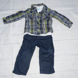 Blue trousers, t-shirt & shirt outfit 18-24 months