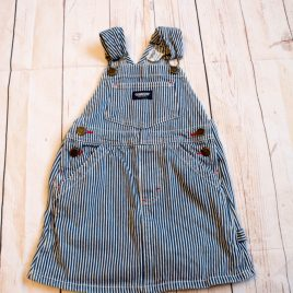 Oshkosh baby & white stripy pinafore 3 years