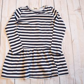H&M Navy & white stripy dress 2-4 years