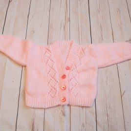 Pink knitted cardigan 3-6 months