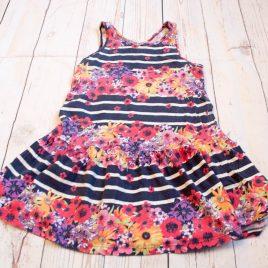 Navy stripy flowers dress 2-4 years