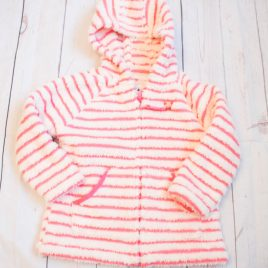 Next pink & white stripy fleece hoodie 3-4 years