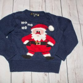 Navy Santa Christmas jumper with bell 18-24 months