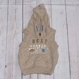 Next brown sleeveless hoodie jumper 3-6 months