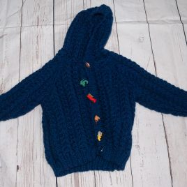 Hand knitted navy hooded cardigan 1 year