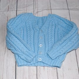 Blue hand knitted cardigan 0-6 months
