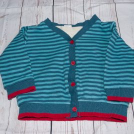 Blue stripy cardigan with built in t-shirt 9-12 months