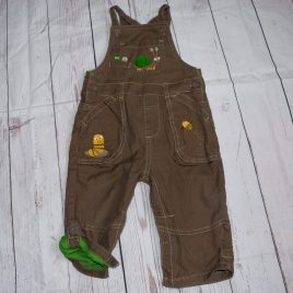 Brown dungarees with roll up leg 9-12 months