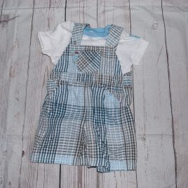 Short dungarees & t-shirt outfit 3-6 months