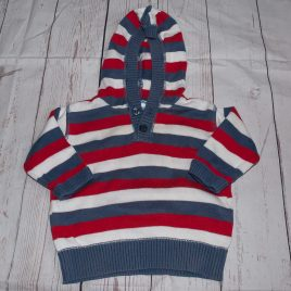 Red, navy & white stripy hoodie jumper 3-6 months