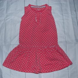 Coral pink spotty dress 18-24 months