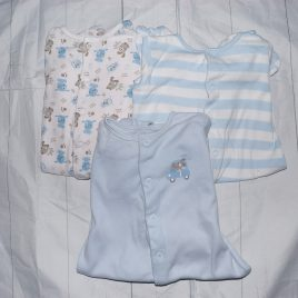 x3 blue sleepsuits 3-6 months