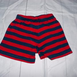 Red & navy stripy trousers/shorts 3-6 months