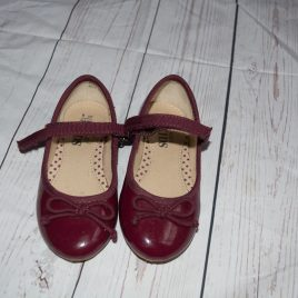 M&S burgundy red ballerina shoes size 8