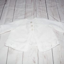 White hand knitted cardigan 0-6 months