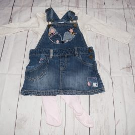 Fox dungaree pinafore dress, top & tights 18-24 months