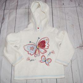 Cream butterfly fleece hoodie jumper 18-24 months